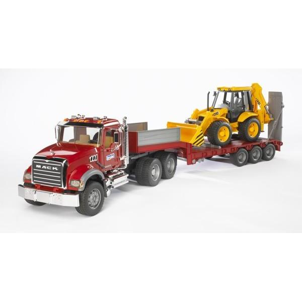 Camion mack cu buldoexcavator JCB