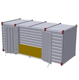 Container 5m cu usa dubla in lateral, 5m x 2m
