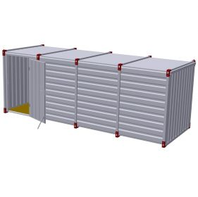 Container 6m cu usa simpla in lateral, 6m x 2m