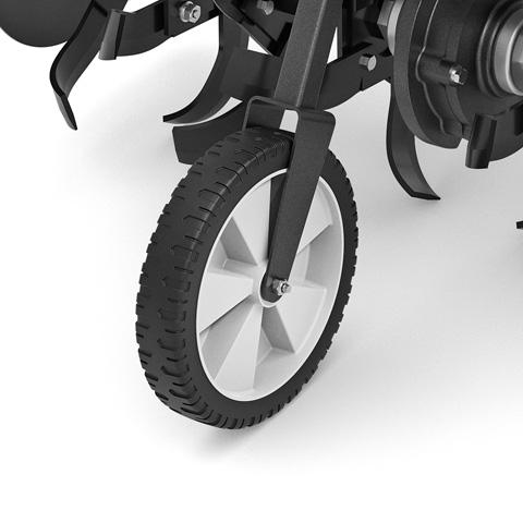 Roţi de transport montate în spatele utilajului -Transport sigur şi confortabil al motocultorului -Uşor de trecut de la poziţia de transport la poziţia de lucru